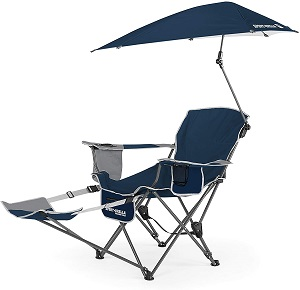 5. Sport-Brella 3-Position Recliner Chair with Removable Umbrella and Footrest