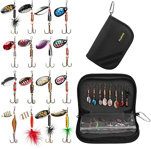 8. PLUSINNO Fishing Lures for Bass 16pcs Spinner Lures with Portable Carry Bag, Bass Lures Trout Lures