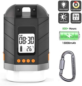 4. Sinvitron LED Camping Lantern Rechargeable, Power Bank 15000mAh, Camping Tent Light