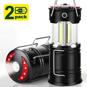 9. EZORKAS 2 Pack Camping Lanterns, Rechargeable Led Lanterns