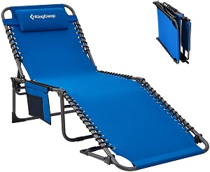 4. KingCamp Folding Outdoor Chaise Lounge Chair Cot