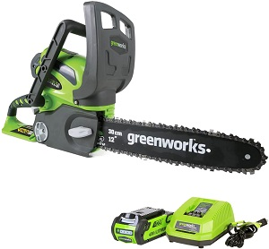 6. Greenworks 12-Inch 40V Cordless Chainsaw, 2.0 Ah Battery and Charger Included 20262