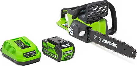 3. Greenworks G-MAX 40V 16-Inch Cordless Chainsaw, 4AH Battery and a Charger Included 20312