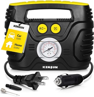 04. Kensun AC/DC Tire Inflator Portable Air Compressor Pump for Car 12V DC and Home 110V AC Swift Performance Inflator for Car, Bicycle, Motorcycle, Basketball, and Others