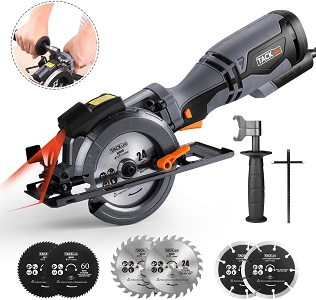 3. Tacklife circular saw with metal handle, 6 blades