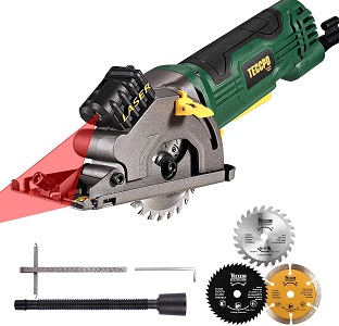 "8. Circular saw, teccpo 4.8amp 3700 rpm compact mini circular saw 3-3/8"" with laser guide, 3 saw blades"