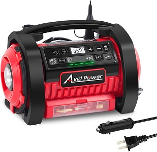 01. Avid Power Tire Inflator Air Compressor, 12V DC / 110V AC Dual Power Tire Pump with Inflation and Deflation Modes, Dual Powerful Motors, Digital Pressure Gauge