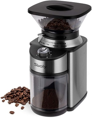 8. Sboly conical burr coffee grinder, stainless steel adjustable burr mill