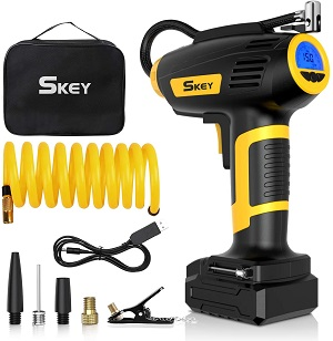 03. SKEY Air Compressor Tire Inflator - Handheld Electric 150 PSI Portable Air Compressor Cordless Car Tire Pump with Rechargeable Li-ion Battery and USB Charging Cable, Digital Pressure Gauge
