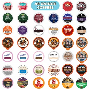 9. Coffee Pods Variety Pack Sampler, Assorted Single Serve Coffee for Keurig K Cups Coffee Makers, 40 Unique Cups