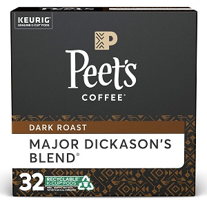 10. Peet's Coffee Major Dickason's Blend, Dark Roast, K-Cup, 32 ct