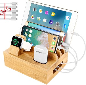 5. Bamboo Charging Station Dock for 4/5 / 6 Ports USB Charger