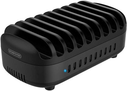 10 Ports Charging Station for Multiple Devices - NTONPOWER USB Fast Charging Dock]