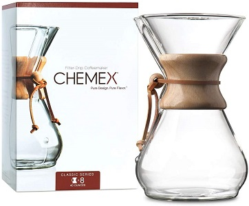 1. CHEMEX Pour-Over Glass Coffeemaker