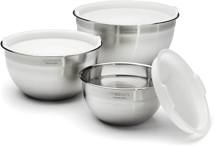 8. Cuisinart CTG-00-SMB Stainless Steel Mixing Bowls with Lids, Set of 3