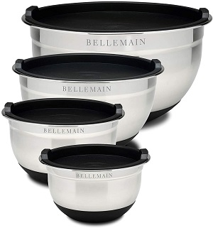 6. Bellemain Stainless Steel Non-Slip Mixing Bowls with Lids (4-Piece Set)