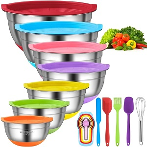 10. CHAREADA Mixing Bowls with Airtight Lids