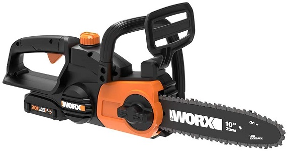 7. Worx WG322 20V Power Share Cordless 10-inch Chainsaw