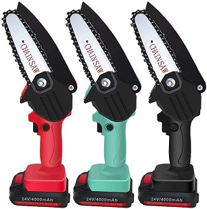 8. Directtyteam Mini Chainsaw 4 Inch with Small Rechargeable Lithium Battery