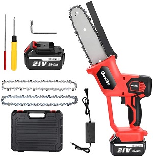 4. Seesii Electric Cordless Chainsaw, 8 Inch Cordless One-Hand Use Chainsaws