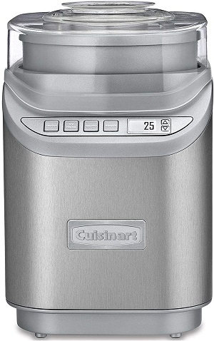 7. Cuisinart ICE-70 Brushed Chrome Electronic Ice Cream Maker with Timer