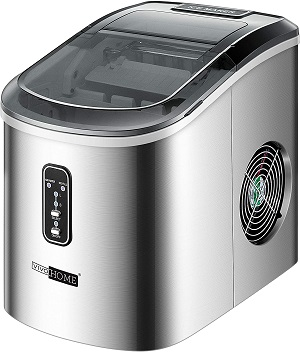 8. VIVOHOME Portable Compact Stainless Steel Electric Ice Cube Maker
