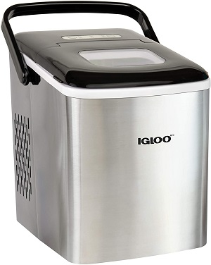 6. Igloo ICEB26HNSS Self-Cleaning Automatic Countertop Ice Maker with Ice Scoop