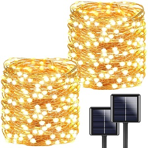3. YIQU Store 72ft 200 LED Solar Outdoor String Lights, 2-Pack (Warm White)