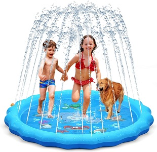 7. QPAU 68 inches Splash Pad outside Sprinkler for Age 3-5 Toddlers (Blue)