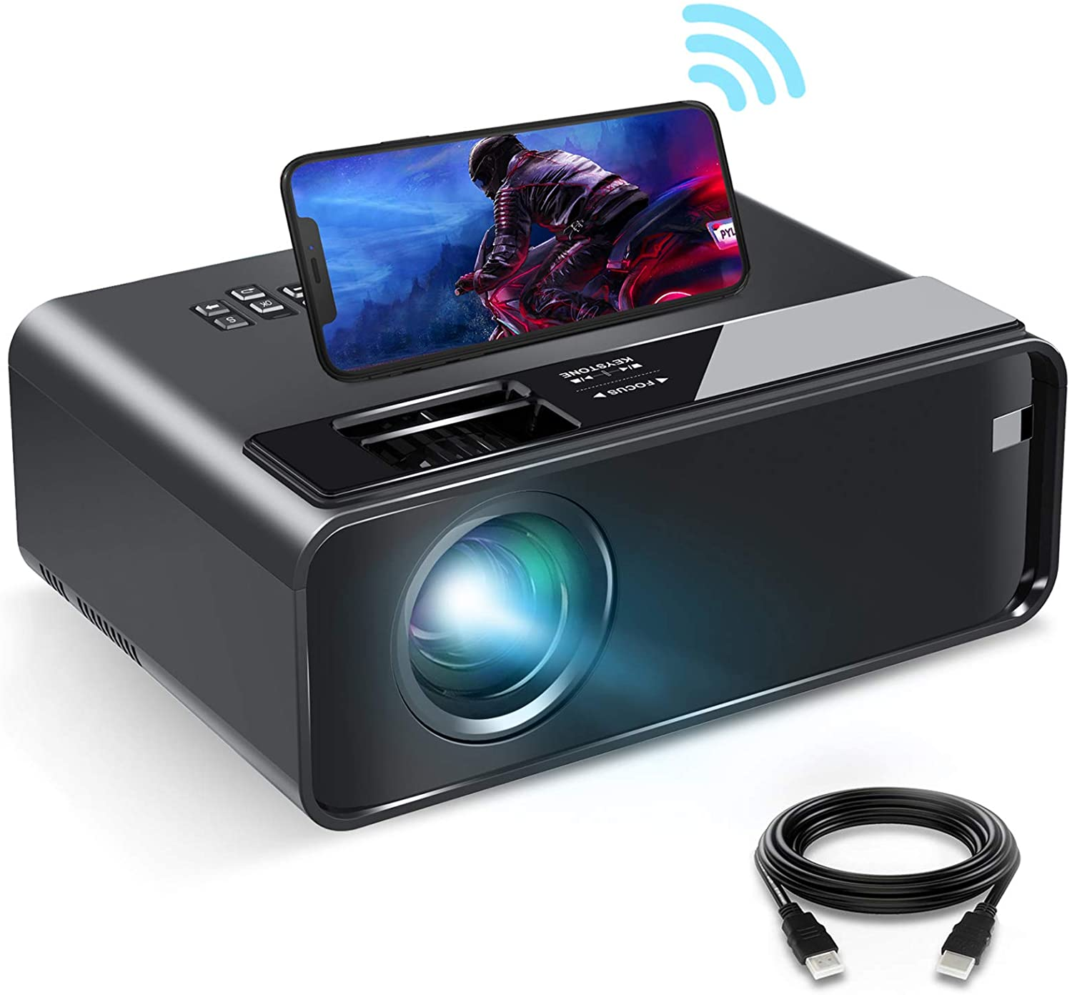05. Outdoor Projector, 6000 Lux, Bomaker Portable WiFi Mini Projector