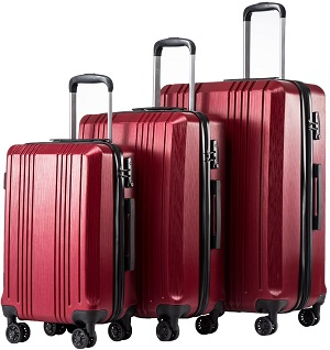 5: Coolife Luggage Expandable Suitcase PC+ABS 3 Piece Set