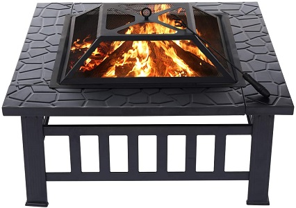 8. KingSo 32'' Outdoor Fire Pit Metal Square Firepit Patio