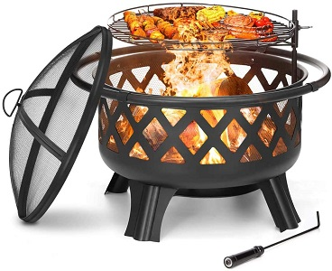 7. KINGSO 2-in-1 Outdoor Fire Pit with Cooking Grate