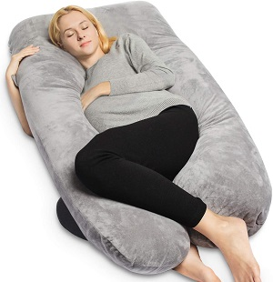 6. QUEEN ROSE U Shaped Maternity Pregnancy Pillow, Gray