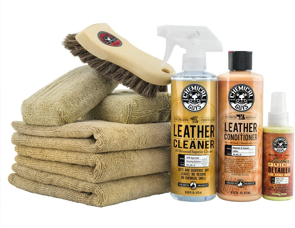 5. Chemical Guys HOL303 9 Items Conditioner Care Kit and 16 Oz Leather Cleaner